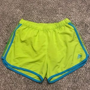 Green and Blue Adidas running shorts size S